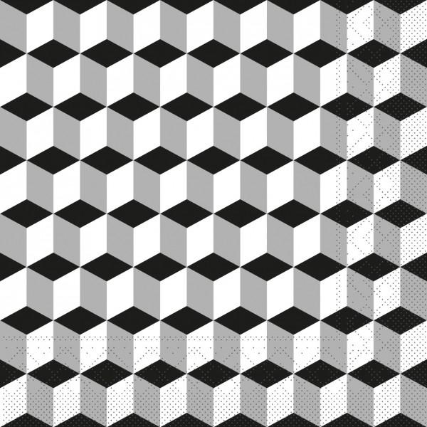 Serviette Chicago in Silber-Schwarz aus Tissue 33 x 33 cm, 20 Stück