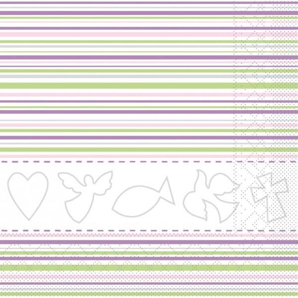 Serviette Kommunion/Konfirmation in Rosa-Grün aus Tissue 33 x 33 cm, 20 Stück