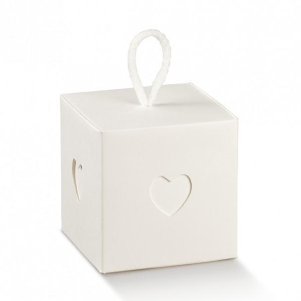 Gastgeschenk Geschenkbox in Weiß mit Innenbox und Kordel, 1 Stück