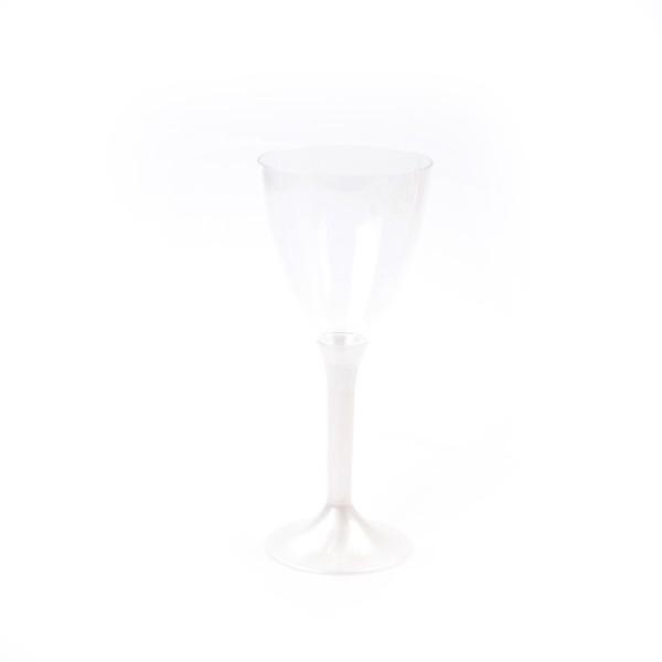 Einweg Wein- und Wassergläser mit Stiel aus Plastik (PS), Perlmutt-Weiss,180cc, 6 Stück