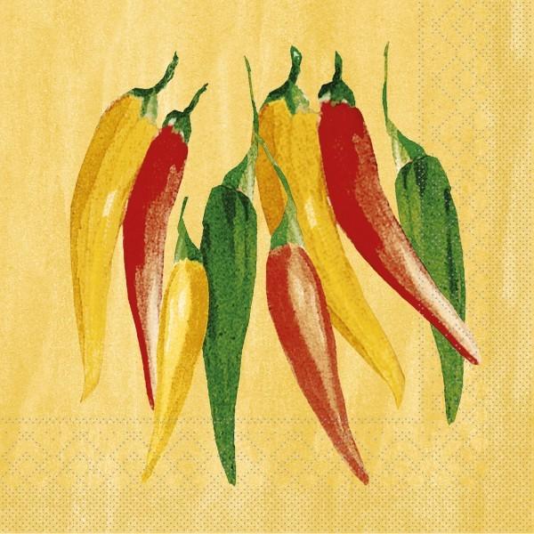Serviette Chili aus Tissue 33 x 33 cm, 20 Stück