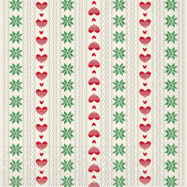 Serviette Trixi in Rot-Grün aus Tissue 33 x 33 cm, 20 Stück