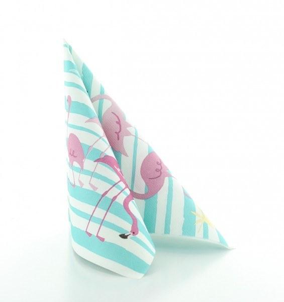 Serviette Flamingo aus Linclass® Airlaid 40 x 40 cm, 12 Stück