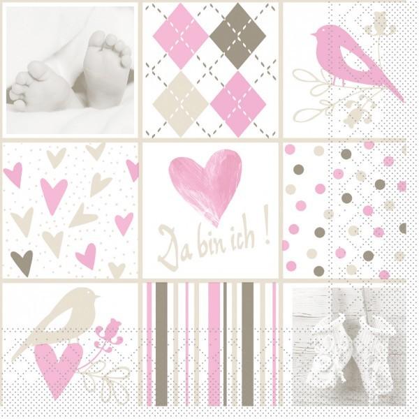 Serviette Baby in Rosa aus Tissue, 33 x 33 cm, 100 Stück