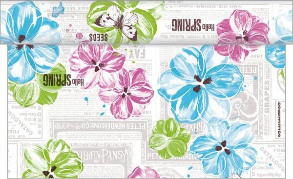Tischläufer Hello Spring in Pink-Türkis aus Linclass® Airlaid 40 cm x 24 m, 1 Stück