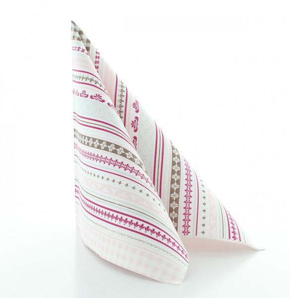 Serviette Babette in braun-rosé aus Linclass® Airlaid 40 x 40 cm, 50 Stück