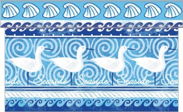 Tischläufer Seaside in Blau aus Linclass® Airlaid 40 cm x 4,80 m, 1 Stück