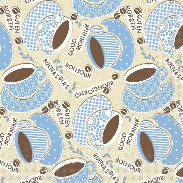 Serviette Kaffee Ole in Champagner-Blau aus Tissue 33 x 33 cm, 20 Stück