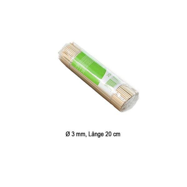 Spieße aus Bambus, Ø 3 mm / 20 cm, 200 Stück