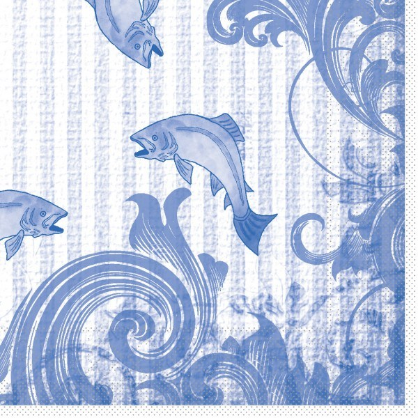 Serviette Fisch in Blau aus Tissue 33 x 33 cm, 100 Stück