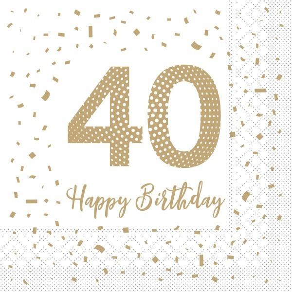 """Serviette """"Happy Birthday - 40"""" aus Tissue 33 x 33 cm, 100 Stück"""