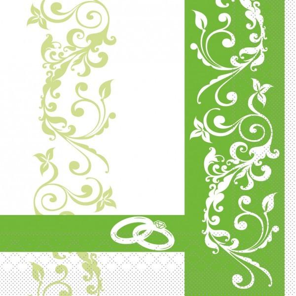 Serviette Hochzeit in Grün aus Tissue 33 x 33 cm, 100 Stück