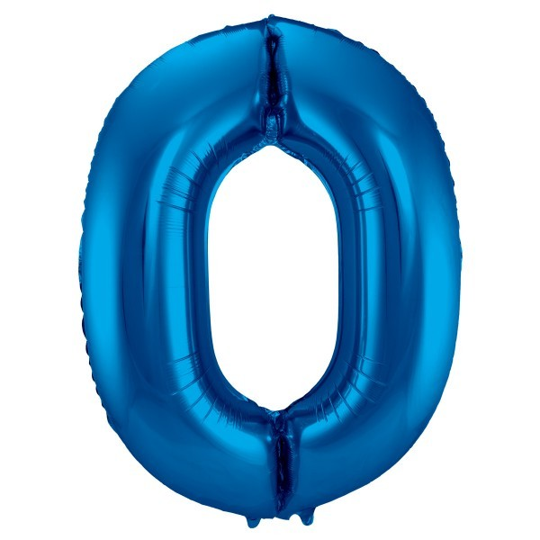 XL Folienballon Zahl 0 in blau, 86 cm, 1 Stück, Helium Ballon (unbefüllt)
