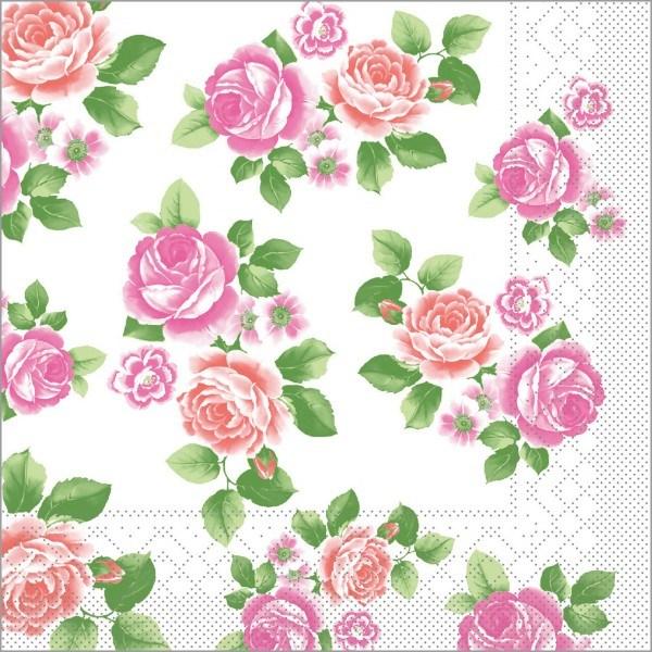 Serviette Rosemarie in rosa aus Tissue 33 x 33 cm, 100 Stück