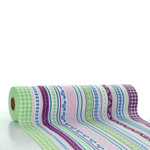 Tischläufer Babette in Grün-Aubergine aus Linclass® Airlaid 40 cm x 24 m, 1 Stück