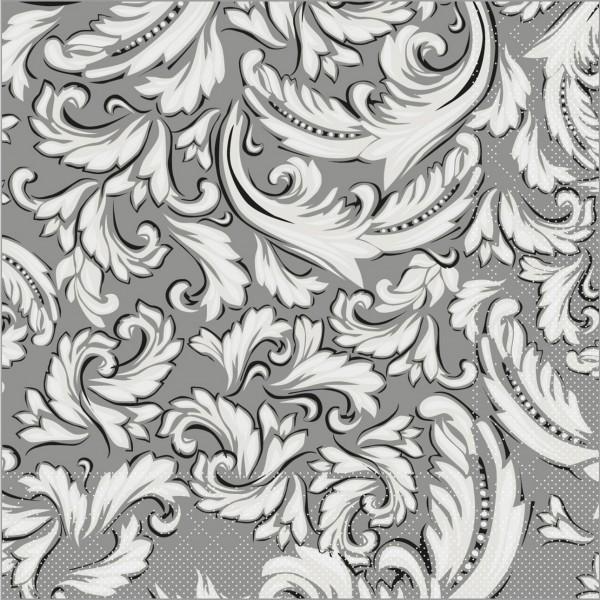 Serviette Cascade in grau aus Tissue 33 x 33 cm, 100 Stück