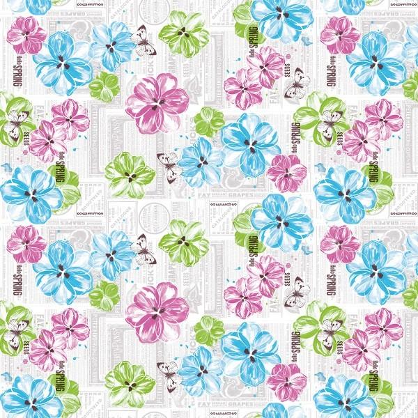 Tischdecke Hello Spring in pink-türkis aus Linclass® Airlaid 80 x 80 cm, 1 Stück