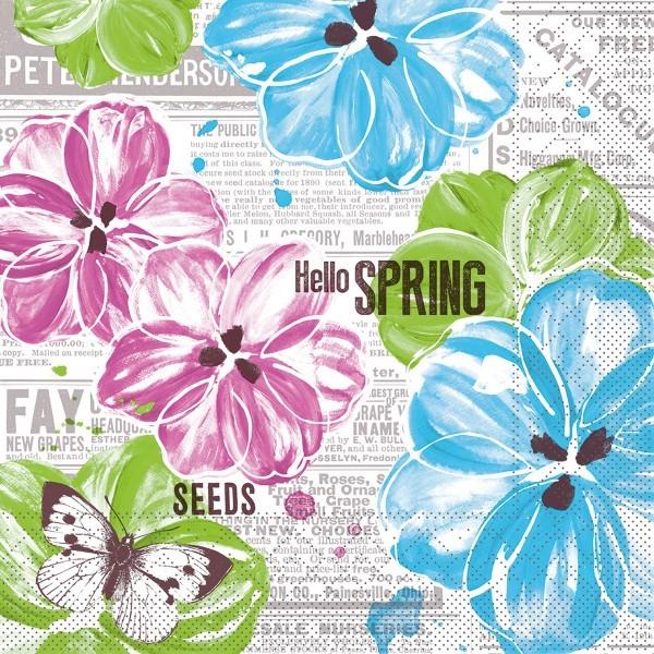 Serviette Hello Spring in Pink-Türkis aus Tissue 33 x 33 cm, 100 Stück
