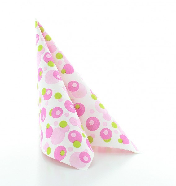 Serviette Bubbles in Pink-Grün aus Linclass® Airlaid 40 x 40 cm, 12 Stück
