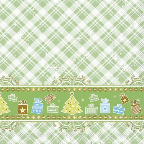 Serviette Joy in Grün aus Tissue 33 x 33 cm, 20 Stück