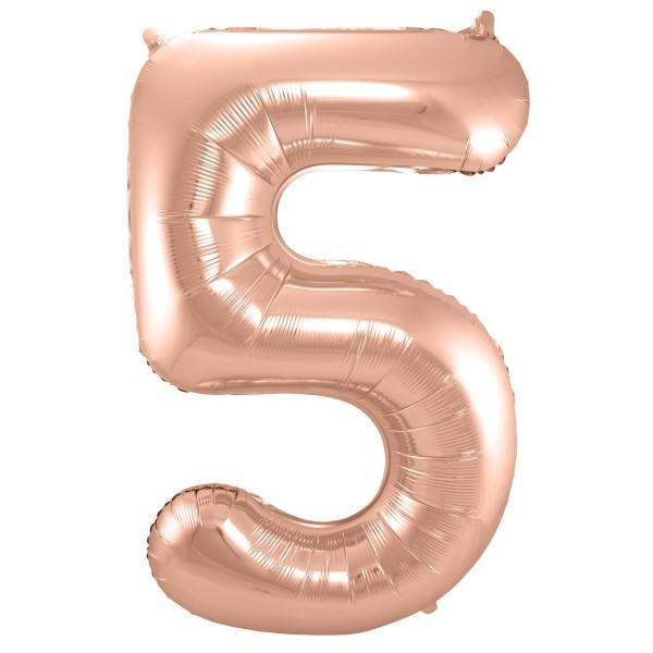 XL Folienballon Zahl 5 in rose-gold, 86 cm, 1 Stück, Helium Ballon (unbefüllt)