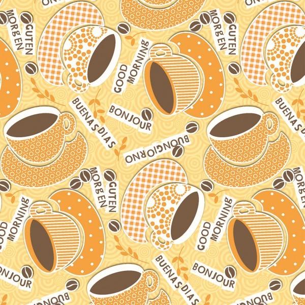 Serviette Kaffee Ole in Gelb-Orange aus Linclass® Airlaid 40 x 40 cm, 50 Stück