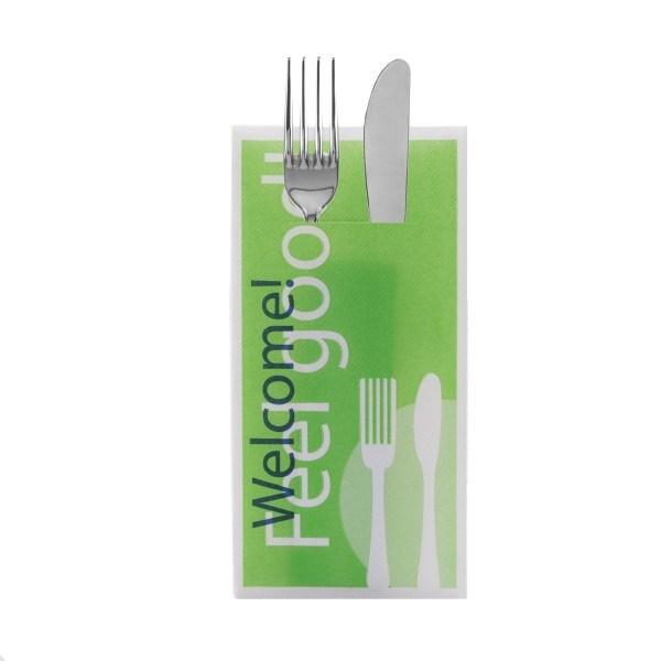 Besteckserviette Feel Good in grün aus Linclass® Airlaid 40 x 40 cm, 100 Stück
