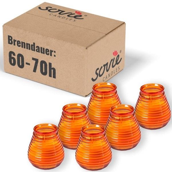 Glaswindlicht Flairlight in Orange, Brenndauer ca. 60-70 Std., Kerze im Glas - 6 Stück