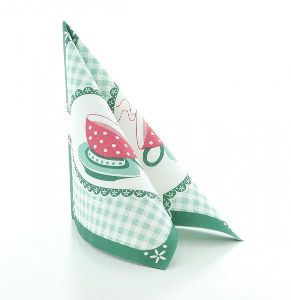 Serviette Kathrin in Grün aus Linclass® Airlaid 40 x 40 cm, 12 Stück