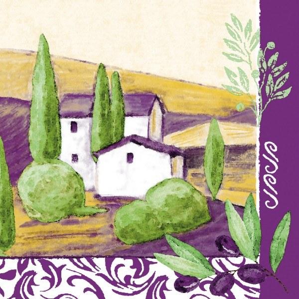 Serviette Provence aus Linclass® Airlaid 40 x 40 cm, 12 Stück