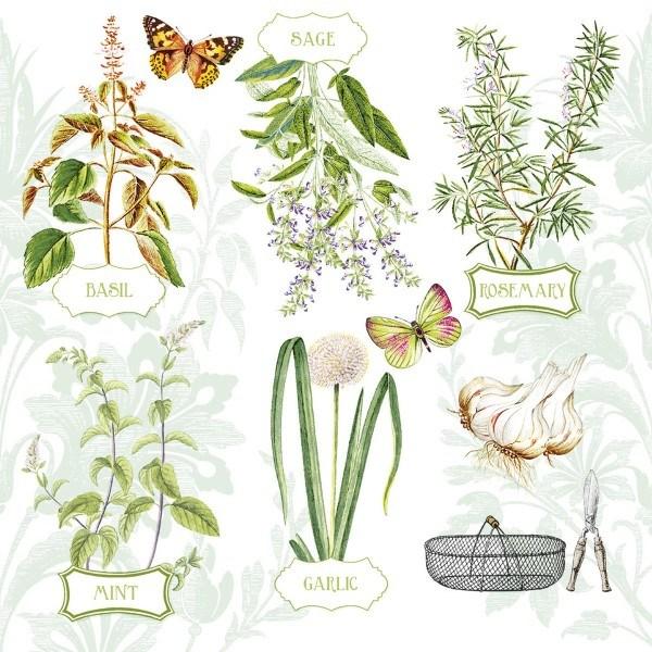 Serviette Fresh Herbs aus Linclass® Airlaid 40 x 40 cm, 12 Stück