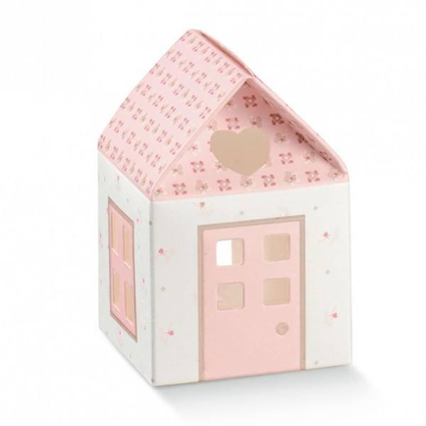 Gastgeschenk Geschenkbox Häuschen in Rosa, 1 Stück