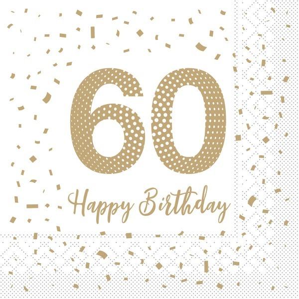 """Serviette """"Happy Birthday - 60"""" aus Tissue 33 x 33 cm, 100 Stück"""