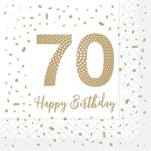 """Serviette """"Happy Birthday - 70"""" aus Tissue 33 x 33 cm, 100 Stück"""