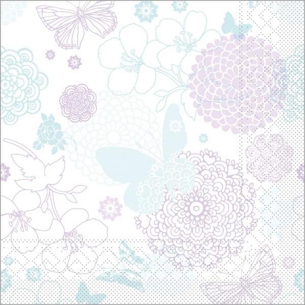 Serviette Luisa in mint-lila aus Tissue 40 x 40 cm, 100 Stück