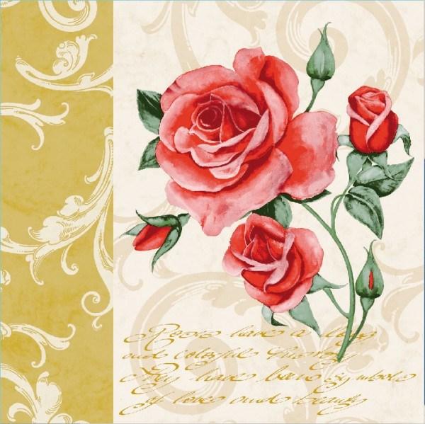 Serviette Romantic in Gold aus Linclass® Airlaid 40 x 40 cm, 12 Stück