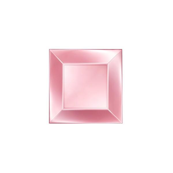 Einweg-Teller aus Plastik (PP), flach, Perlmutt-Rosa, 230x230mm, 8 Stück