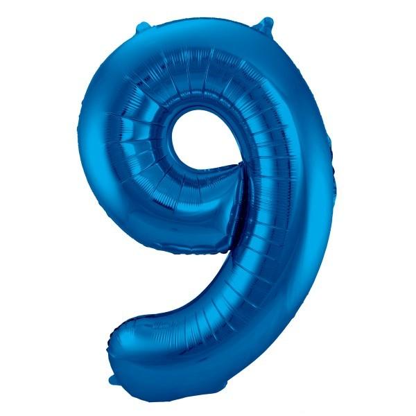 XL Folienballon Zahl 9 in blau, 86 cm, 1 Stück, Helium Ballon (unbefüllt)