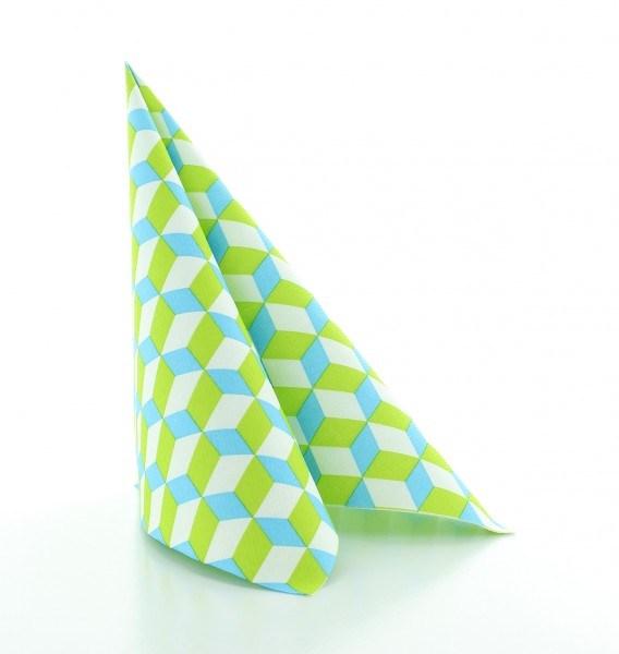 Serviette Chicago in Grün-Blau aus Linclass® Airlaid 40 x 40 cm, 12 Stück