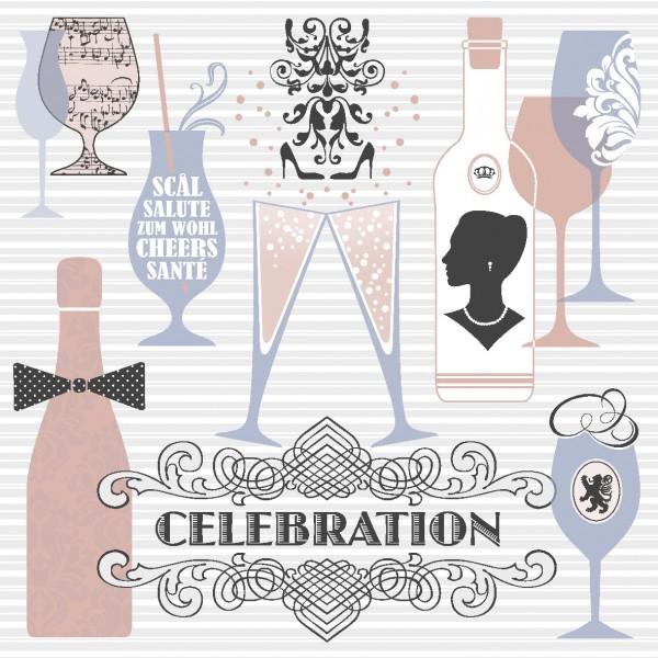 Serviette Celebration in Grau-Altrosa aus Linclass® Airlaid 40 x 40 cm, 12 Stück