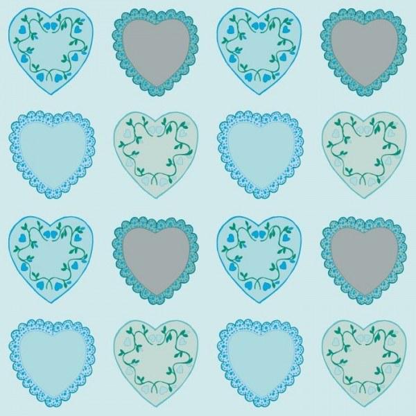 Serviette Sweet Love in Blau aus Linclass® Airlaid 40 x 40 cm, 12 Stück