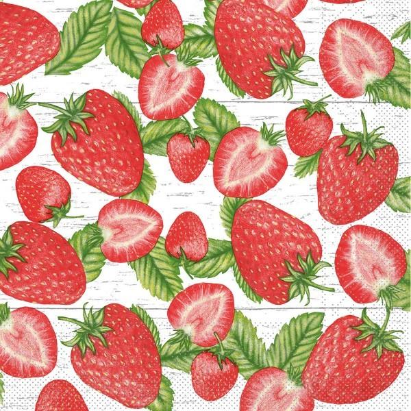 Serviette Erdbeeren aus Tissue 33 x 33 cm, 3-lagig, 100 Stück