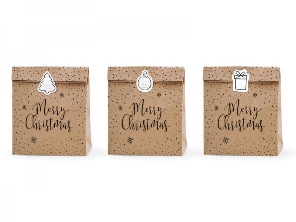 XL Geschenktüten Weihnachten/ Merry Christmas, 3 Stück groß mit Sticker (25 x 11 x 27)