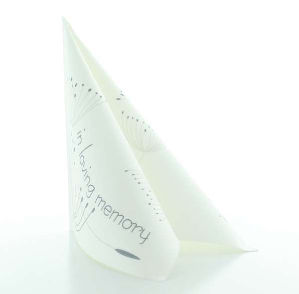 Serviette In Loving Memory in weiß aus Linclass® Airlaid 40 x 40 cm, 50 Stück