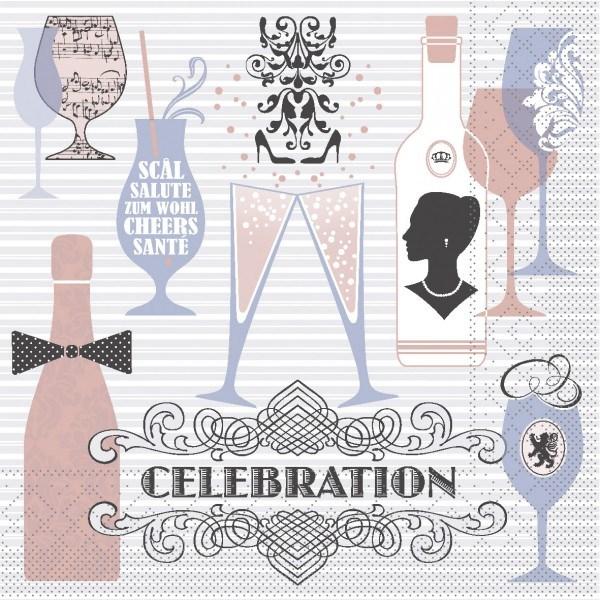 Serviette Celebration in Grau-Rosa aus Tissue 33 x 33 cm, 100 Stück