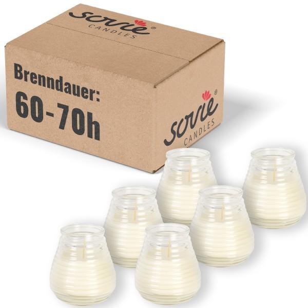 Glaswindlicht Flairlight in Transparent, Brenndauer ca. 60-70 Std., Kerze im Glas - 6 Stück