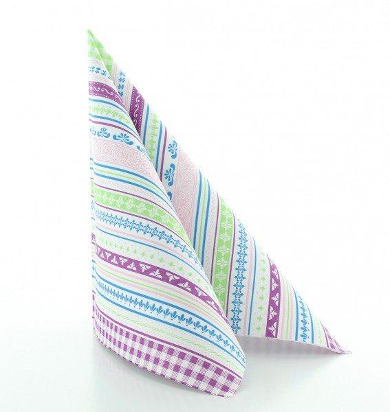 Serviette Babette in grün-aubergine aus Linclass® Airlaid 40 x 40 cm, 50 Stück