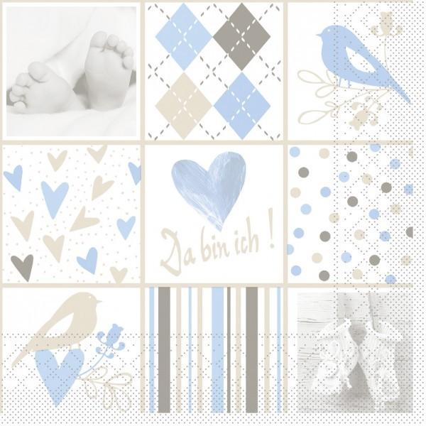 Serviette Baby in Blau-Weiß aus Tissue 33 x 33 cm, 20 Stück