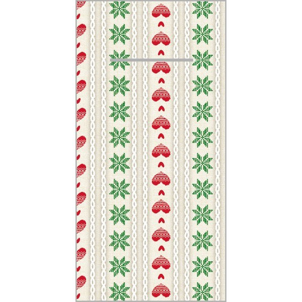 Besteckserviette Trixi in Rot-Grün aus Linclass® Airlaid 40 x 40 cm, 12 Stück