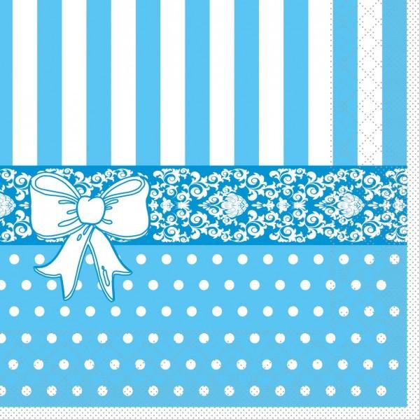 Serviette Bine in Aqua Blau aus Tissue 33 x 33 cm, 20 Stück